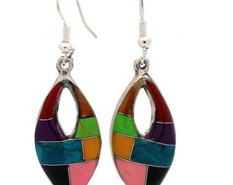 Open Ellipse Silver Mosiac Earrings