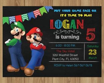 Super Mario Invitation/Super Mario Birthday/Super Mario Birthday Party Invitation/Super Mario INSTANT DOWNLOAD PDF PE845