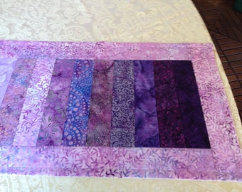 Lavender batik table runner