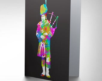 Scottish Card - Bagpipes Scots Piper Colourful Psychedelic Scotland Blank Greetings Card Cp141