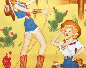 Alexander Henry Back In The Saddle - Pin Up Cowgirl Fabric - Yellow - Per 1/2 metre - 100% Cotton