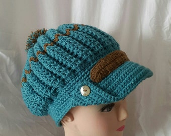 Hot cap turquoise-Brown for woman