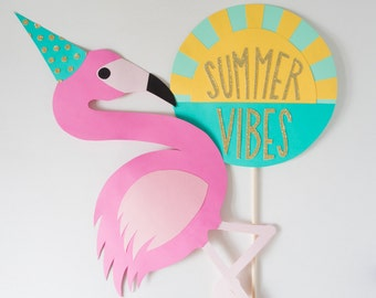 Party Flamingo ONLY / Photo Booth Prop / Flamingo Prop / Wedding Prop / Handmade / Photobooth