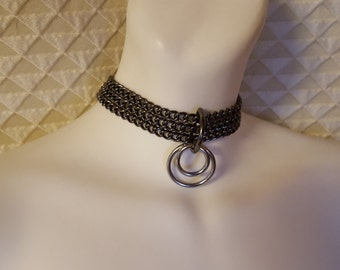 Black and chrome chain choker, Chain collar, Lovers Necklace, Goth Collar, punk,