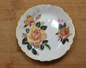 Gold Trimmed Floral Trinket Plate Vintage 1970s Yellow Rose Gifts for Her Mothers Day