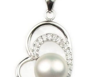 White pearl pendant, freshwater pearl heart pendant, sterling 925 silver pearl pendant, real pearl necklace wholesale, 8-9mm, F2730-WP