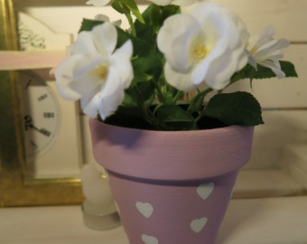 Hand Painted Terracotta Pot - Love Hearts Pink