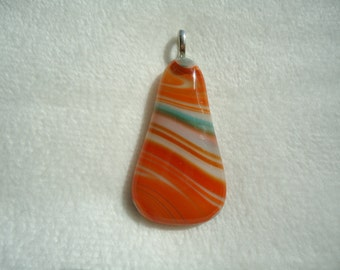 Fused Orange and Turquoise Tear Drop Pendent