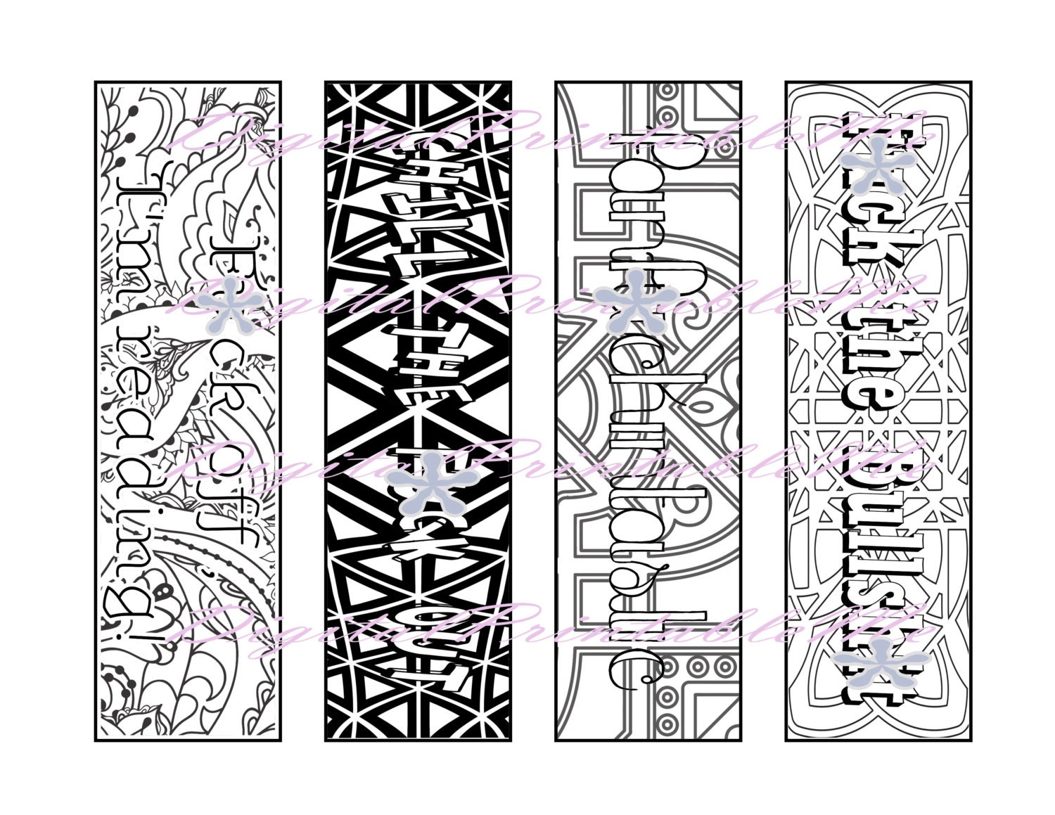 bookmarks coloring pages - printable bookmark swear coloring page book mark mature adult