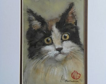 Black and White cat watercolor-13x19sm-Original Artwork Cat Painting-One of a kind-Custom Animal Portrait