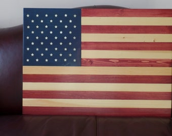 Stained wood US flag