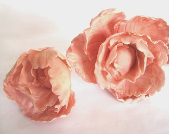 Peony and Matching Bud. Gum paste flowers cake toppers cake decoration sugar paste