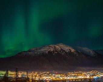 Aurora Borealis Northern Lights Juneau Alaska 12x18 Photo Print