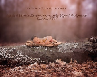 Log in the Woods newborn Digital Background/ Backdrop PSD