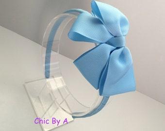 Light Blue,Blue,Grosgrain,Toddler Headband,Girls Headband,Baby,Bow,Grosgrain, Hair Bows,Big Bow Headbands