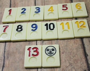 Vintage RUMMIKUB Tiles-Set of 14-Game pieces-Art Mixed media Supply-Upcycle pieces-vintage game pieces-number tiles-game tiles-