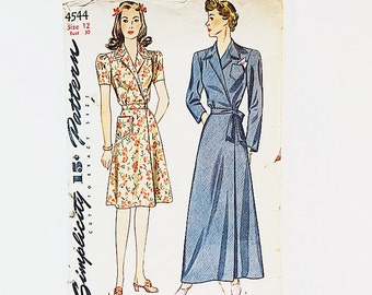 40s Housedress Pattern   Simplicity 4544 Misses Dress & Robe Pattern   40s Sewing Pattern