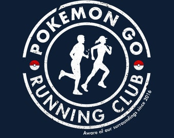 Pokemon Go Running Club - Men's Unisex T-Shirt - AR Pokemon Gaming Parody Clothing
