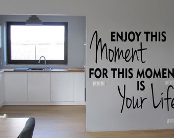 Enjoy This Moment Inspirational  vinyl wall decor quote decoration Sticker family words  decal sticker cheap kitchen decorative Removable