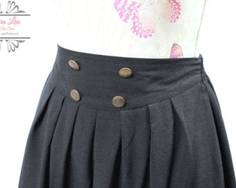 Vintage Black Full Midi Skirt with Button Detail Size S