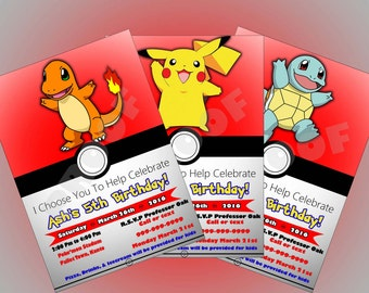 Persononalized Pokemon Invitation