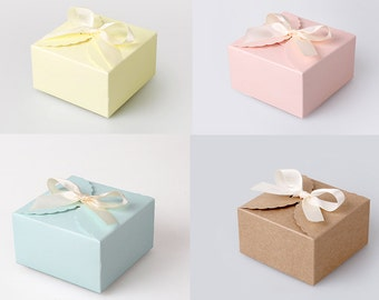 4 small scallop boxes with ribbon in pastel color and kraft,wedding favor boxes,baby shower favor boxes,party favor boxes,gift box,candy box