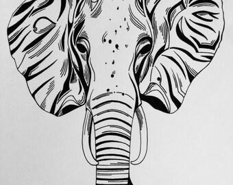Pen and ink original artwork, tribal elephant
