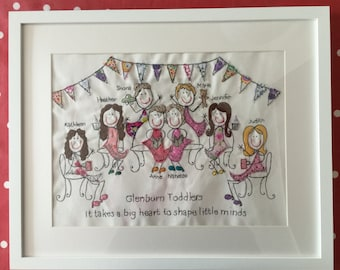 Personalised large mounted and framed embroidery 12x16 inches