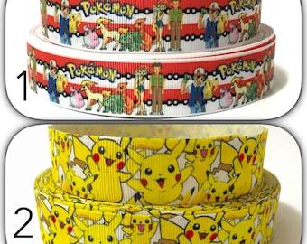 """1"""" Pikachu Grosgrain Ribbon, Pokemon Ribbon by the yard"""