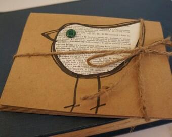 "Handmade Bird Notecards/Dictionary Print Bird/Set of 5/Blank Inside/Includes Envelopes/Brown Kraft Notecard Paper/ 4 x 5-1/2"" Notecard"