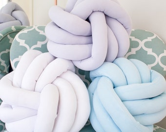 Knotted Cushion - Pale Blue