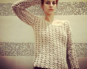 Thick wool jumper in fantasy stitch