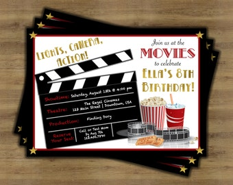 Movie Party Invitation Movie Ticket Invitation Instant