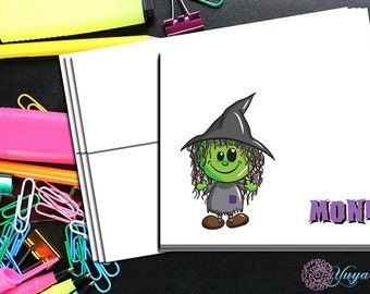 Halloween little witch Note Card / Custom baby witch Stationery / Halloween Stationery Set / Custom Thank You Cards / Set of 12 Notes