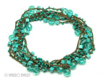 Crocheted Beaded Wrap Bracelet Necklace, Turquoise Blue Brown Long Boho Bracelet Necklace, Beaded Bracelet Necklace, Metal-free Jewelry