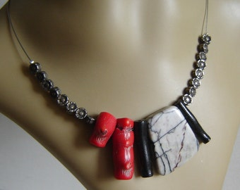 Handmade pendant with Jasper - coral and antiqued silver -.