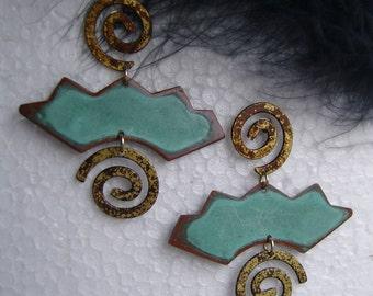 1 pair vintage earrings handmade with Verdigris and smart-