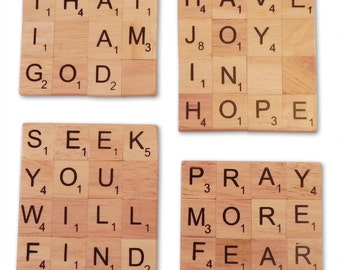 Inspirational Christian Scrabble Coasters