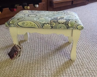 SOLD! Footstool - cottage chic heirloom white with paisley light greens and light blues