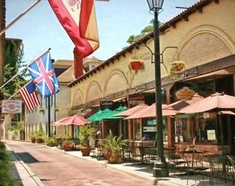 St. Augustine, Sidewalk Cafes of St. Augustine, Historic City, Fine Art, St. Augustine Art, Cityscape, Urban Decor, City Decor, Large Prints