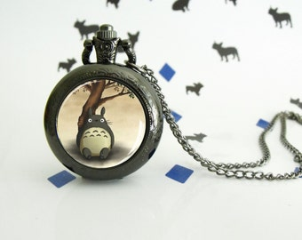 Totoro Bamboo - Pocket watch - Victorian Steampunk style - Glass cabochon - Special Easy gift