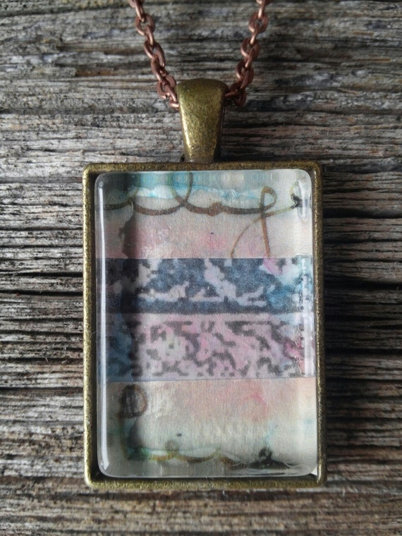 collage wearable art pendant: letter to paradise