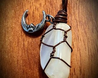 Moonstone Wire Wrapped Necklace With Crescent Moon Charm