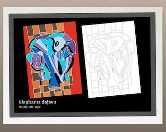 Elephants dejavu- Minimalistic style