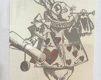 Alice in Wonderland White Rabbit! Framed, Papercut by hand, Wall art, Paper art, Home Decor, Childrens Decor, John Tenniel Illustrations