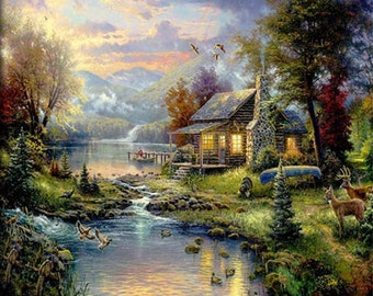 Landscape Oil Painting - Old House with River and Forest