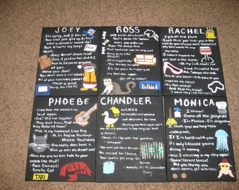 """Set of 6 acrylic canvas paintings inspired by """"friends"""" tv show 11 x 14"""