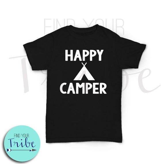 Iron on happy camper heat transfer decal by findyourtribeshop for Heat press decals for t shirts