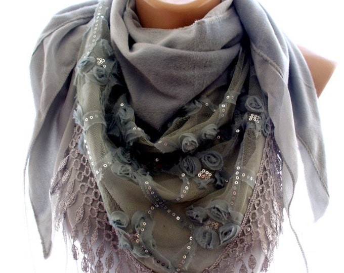 Gray lace embroidered scarf, gray shawl, scarves for her, soft scarf, cozy scarf, trendy scarf
