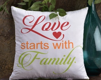 "Love starts with Family CottonThrow Pillow cover,Throw pillow Cover,Printed Pillow,Message Pillow,Multi Color,16""x16"" Pillows, Home Decor"